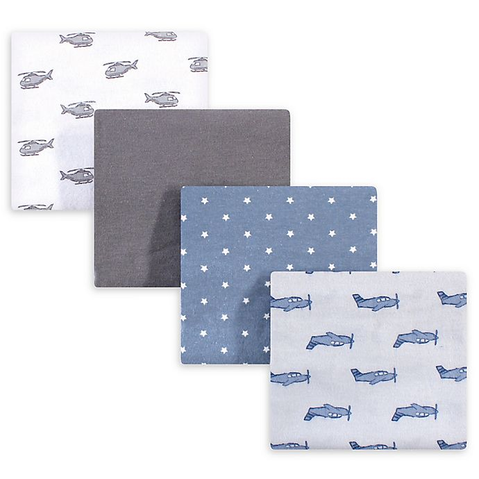 Alternate image 1 for Hudson Baby® 4-Pack Airplanes Flannel Receiving Blanket in Grey