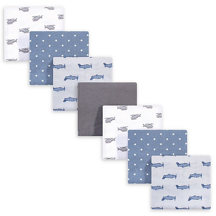 Alternate image 1 for Hudson Baby® 7-Pack Airplanes Flannel Receiving Blanket in Grey