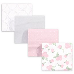 Hudson Baby® 4-Pack Flannel Receiving Blankets in Pink