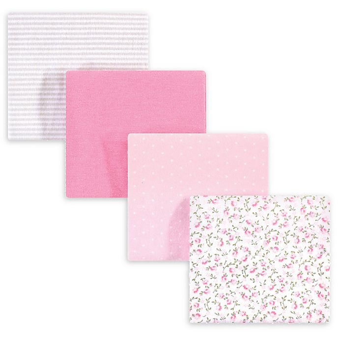 Alternate image 1 for Hudson Baby® 4-Pack Peony Flannel Receiving Blankets in Pink