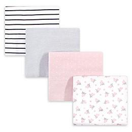 Hudson Baby® 4-Pack Floral Flannel Receiving Blanket in Pink/Grey