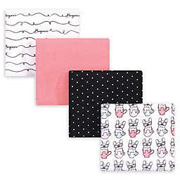 "Hudson Baby® 4-Pack ""Bonjour"" Flannel Receiving Blankets in Black"