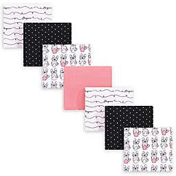 "Hudson Baby® 7-Pack ""Bonjour"" Flannel Receiving Blankets in Black"