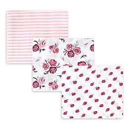 Hudson Baby® 3-Pack Rose Muslin Swaddle Blankets in Red/White