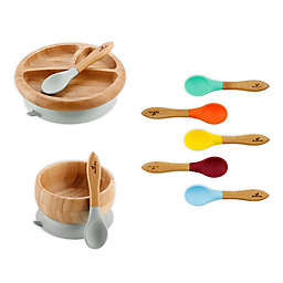 Avanchy Bamboo + Silicone Baby Bowl and Plate Set with Spoons in Grey