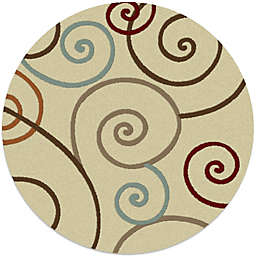Concord Global Trading Scroll 63-Inch Round Rug in Ivory