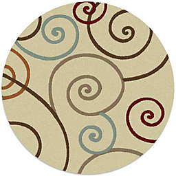 Concord Global Trading Scroll 7-Foot 10-Inch Round Rug in Ivory