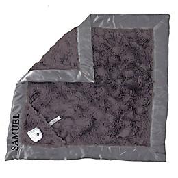 Zalamoon Plush Luxie Pocket Monogram Blanket with Pocket Holder in Charcoal