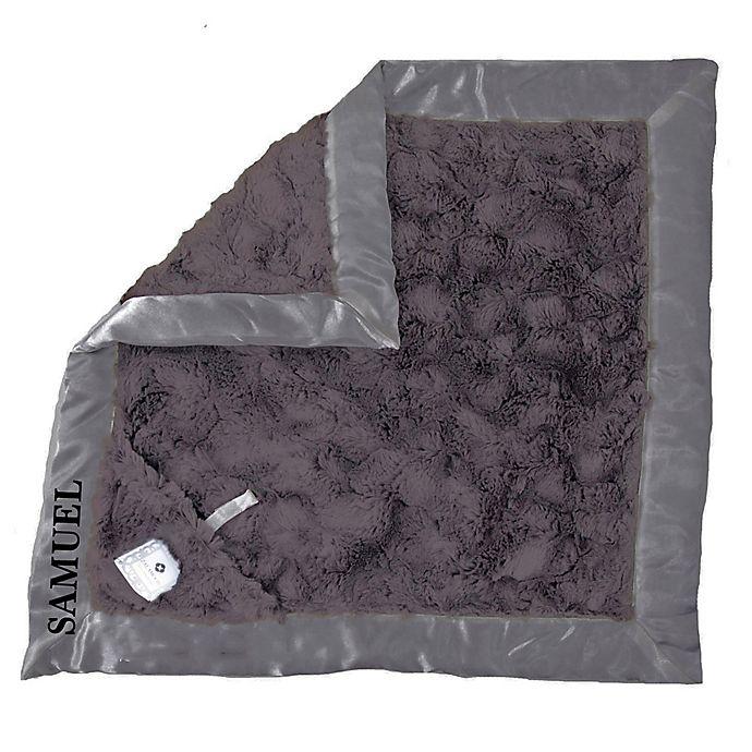 Alternate image 1 for Zalamoon Plush Luxie Pocket Monogram Blanket with Pocket Holder in Charcoal