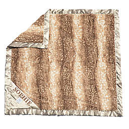 Zalamoon Plush Strollet Monogram Blanket with Satin Trim in Fawn