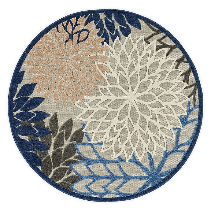 Alternate image 1 for Nourison Aloha 4' Round Indoor/Outdoor Accent Rug in Blue