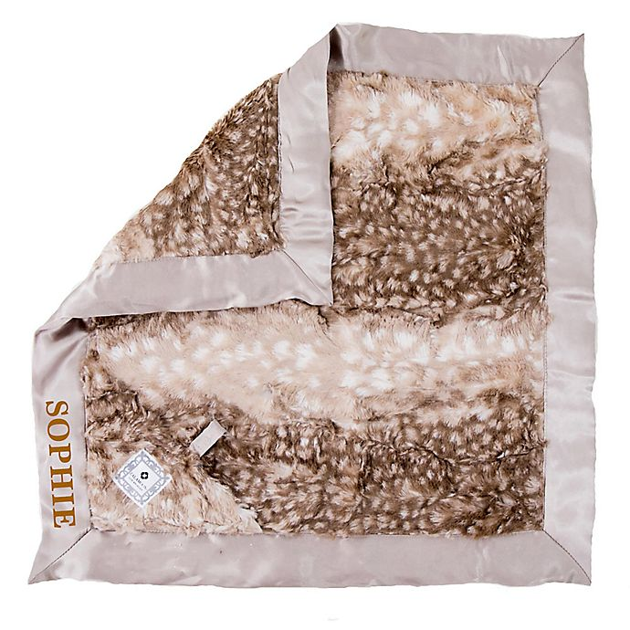 Alternate image 1 for Zalamoon Plush Luxie Pocket Monogram Blanket with Pocket Holder in Fawn