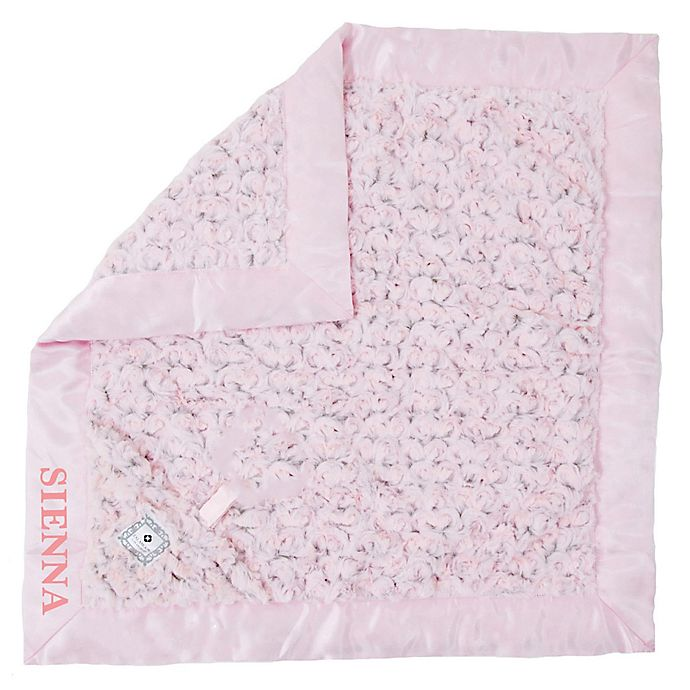 Alternate image 1 for Zalamoon Plush Luxie Pocket Monogram Blanket with Pocket Holder in Blush