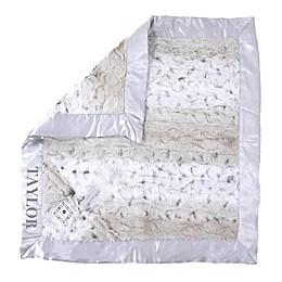 Zalamoon Plush Luxie Pocket Monogram Blanket with Pocket Holder in Snow Leopard