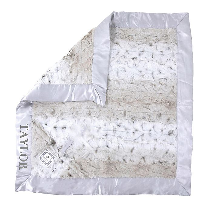 Alternate image 1 for Zalamoon Plush Luxie Pocket Monogram Blanket with Pocket Holder in Snow Leopard