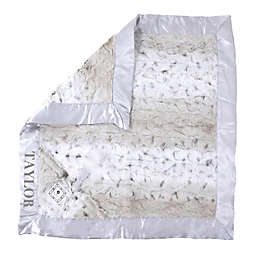 Zalamoon Plush Luxie Pocket Monogram Blanket with Pocket Holder in Snow Leopard