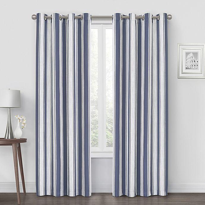 Alternate image 1 for Quinn Stripe 108-Inch Grommet Blackout Window Curtain Panel in Navy