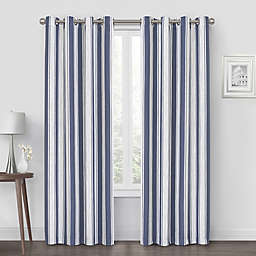 Quinn Stripe 63-Inch Grommet Blackout Window Curtain Panel in Navy