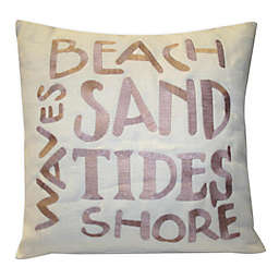 Thro Beach Words Square Throw Pillow in Natural