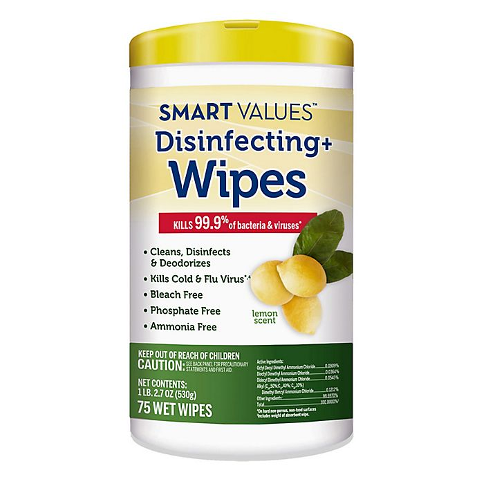Alternate image 1 for Smart Values™ 75-Count Disinfecting Wipes in Lemon Scent
