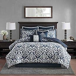 Madison Park Odette Jacquard 8-Piece Reversible California King Comforter Set in Navy