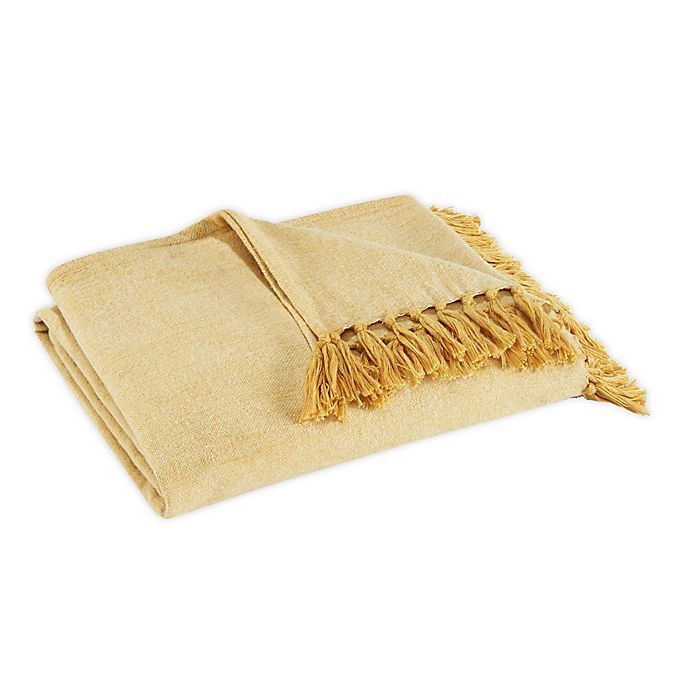 Alternate image 1 for Tommy Bahama® Canvas Fringe Throw Blanket in Ochre