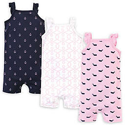 Hudson Baby® 3-Pack Pink Whale Sleeveless Rompers