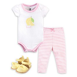 Hudson Baby® 3-Piece Lemon Bodysuit, Pant, and Shoe Set