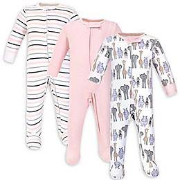 Hudson Baby® 3-Pack Safari Sleep N' Play Footies in Pink