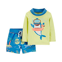 carter's® 2-Piece Shark Rashguard and Swim Trunk Set in Yellow