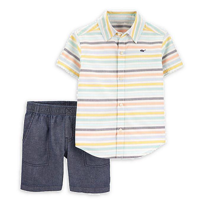 Alternate image 1 for carter's® 2-Piece Stripe Shirt and Short Set