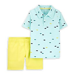 carter's® 2-Piece Fish Polo Shirt and Short Set in Light Blue/Yellow