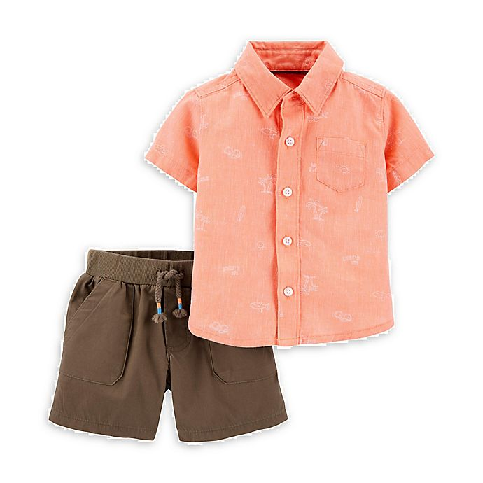 Alternate image 1 for carter's® 2-Piece Woven Button-Front Shirt and Short Set in Coral