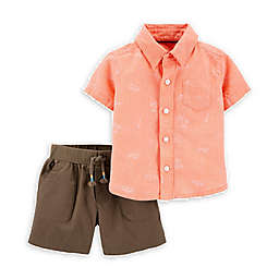 carter's® 2-Piece Woven Button-Front Shirt and Short Set in Coral