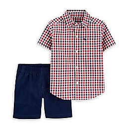 carter's® 2-Piece Gingham Shirt and Short Set in Red/Navy