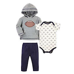 Hudson Baby® Size 0-3M 3-Piece Football Bodysuit, Hoodie and Pant Set in Grey