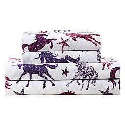 Kute Kids Sparkling Glitter Unicorn Full Sheet Set in Pink/Purple