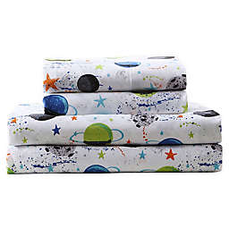 Kute Kids Far Out Galaxy Twin Sheet Set in White/Multi