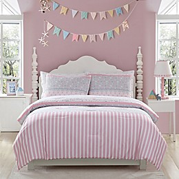 Kute Kids Ellie Stripped Comforter Set in Pink/Grey