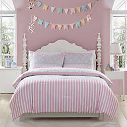 Kute Kids Ellie Stripped Comforter Set in Pink/Grey