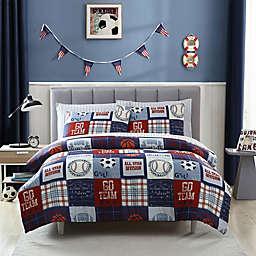 Kute Kids Sports Fan Comforter Set in Blue