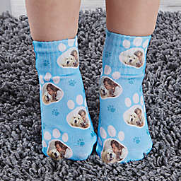 Paw Print Personalized Toddler Dog Photo Socks
