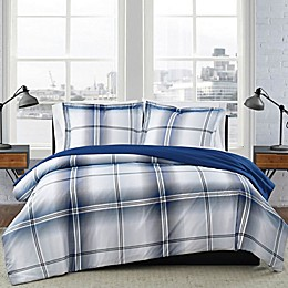 London Fog® Nolan Houndstooth Stripe Reversible Duvet Set