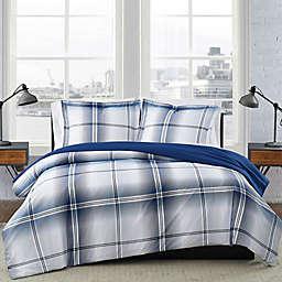 London Fog® Nolan Houndstooth Stripe Reversible Duvet Set