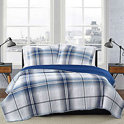 London Fog® Nolan Houndstooth Stripe  2-Piece Reversible Twin XL Quilt Set in White