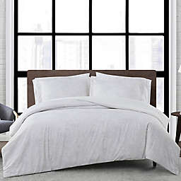 London Fog® Sasha Paisley Reversible Duvet Set in White/Neutral