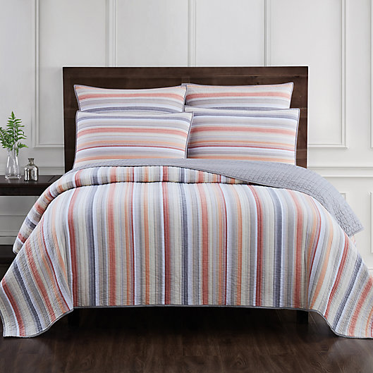 Alternate image 1 for Jacob Stripe 2-Piece Twin Quilt Set in Terracotta