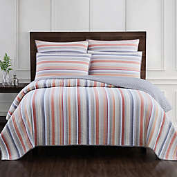 Jacob Stripe Quilt Set in Terracotta