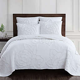 Rose Chenille Quilt Set in Coconut