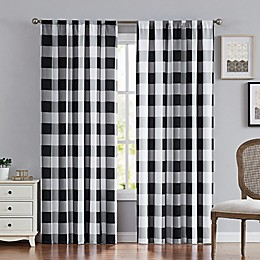 Truly Soft® Buffalo Plaid 2-Pack 84-Inch Rod Pocket Window Curtain Panels in Black